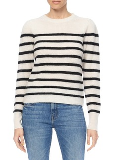 360 Cashmere Laurel Striped Puff-Shoulder Cashmere Sweater