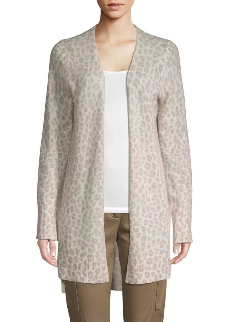 360 Cashmere Leopard-Print Cashmere Cardigan