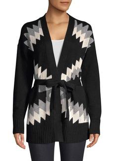 360 Cashmere Moxie Wool & Cashmere Intarsia Tie Cardigan