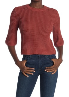 360 Cashmere Peark Open Stitch Elbow Sleeve Sweater