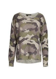 360 Cashmere Printed Camo Crewneck Sweater