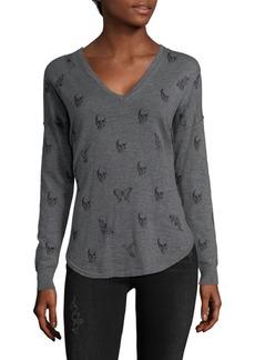 360 Cashmere Skull Cotton Sweater