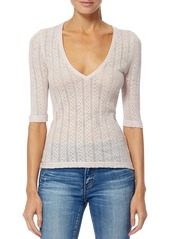 360 Cashmere True Pointelle Knit V-Neck Top