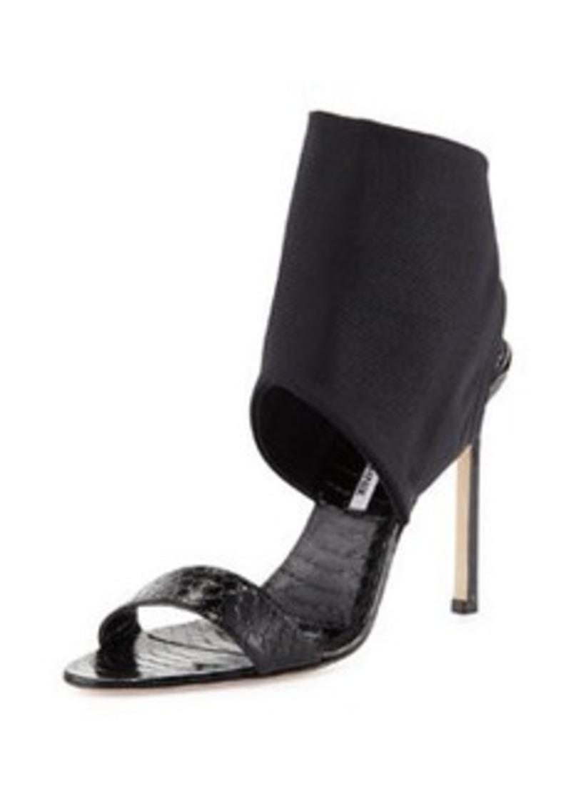 Manolo Blahnik Saccopen Snake Ankle-Wrap Sandal, Black   Saccopen Snake Ankle-Wrap Sandal, Black
