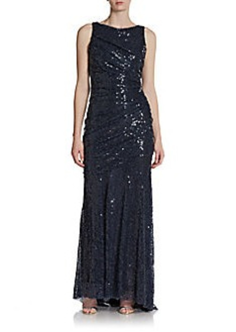 Carmen Marc Valvo Ruched Sequined Gown