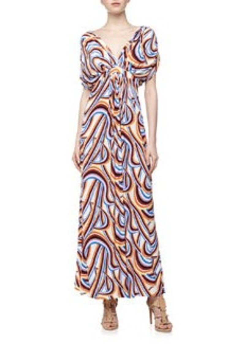T-Bags T Bags Swirl Print Mirrored V Maxi Dress