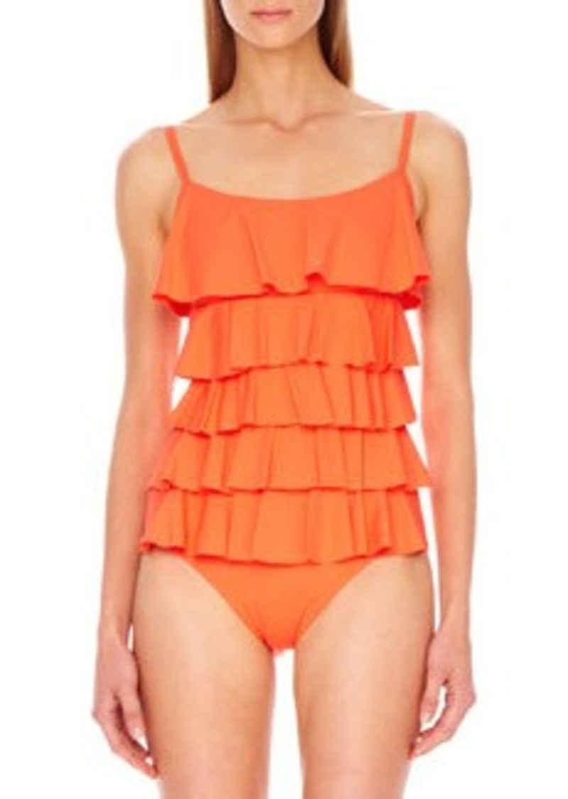 MICHAEL Michael Kors Scoop-Neck Ruffled Maillot   Scoop-Neck Ruffled Maillot
