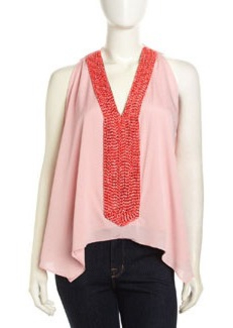 T-Bags T Bags Sleeveless Beaded V-Neck Chiffon Blouse, Pink