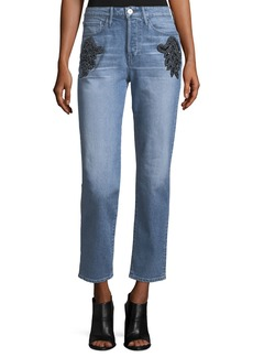 3x1 Burke High-Rise Beaded Boyfriend Crop Jeans