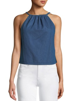 3x1 Jackie Open-Back Cropped Denim Halter Top