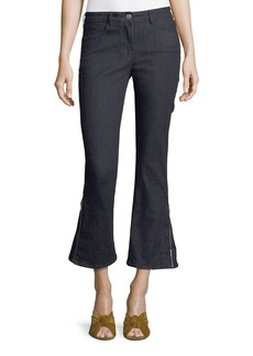 3x1 W25 Mid-Rise Zip-Cuff Flared Ankle Jeans