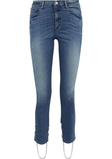 3x1 Woman Bijou Stirrup Chain-trimmed High-rise Skinny Jeans Mid Denim