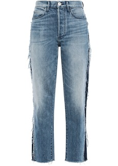 3x1 Woman Cora Cropped Frayed High-rise Straight-leg Jeans Light Denim