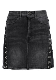 3x1 Woman Corset Embellished Denim Mini Skirt Charcoal
