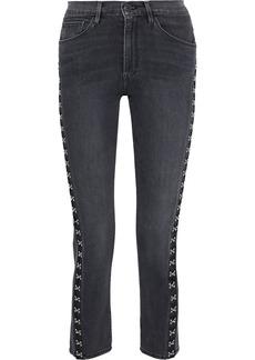 3x1 Woman Corset Hook-detailed High-rise Slim-leg Jeans Dark Denim