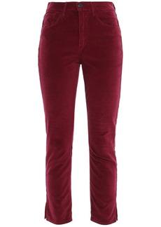 3x1 Woman W3 Higher Ground Cropped Stretch-cotton Velvet Slim-leg Pants Plum
