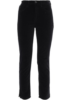 3x1 Woman W3 Higher Ground Cropped Stretch-cotton Velvet Slim-leg Pants Black