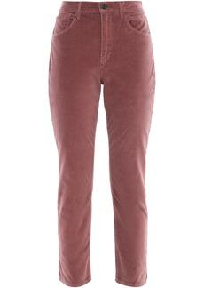 3x1 Woman W3 Higher Ground Cropped Stretch-cotton Velvet Slim-leg Pants Antique Rose