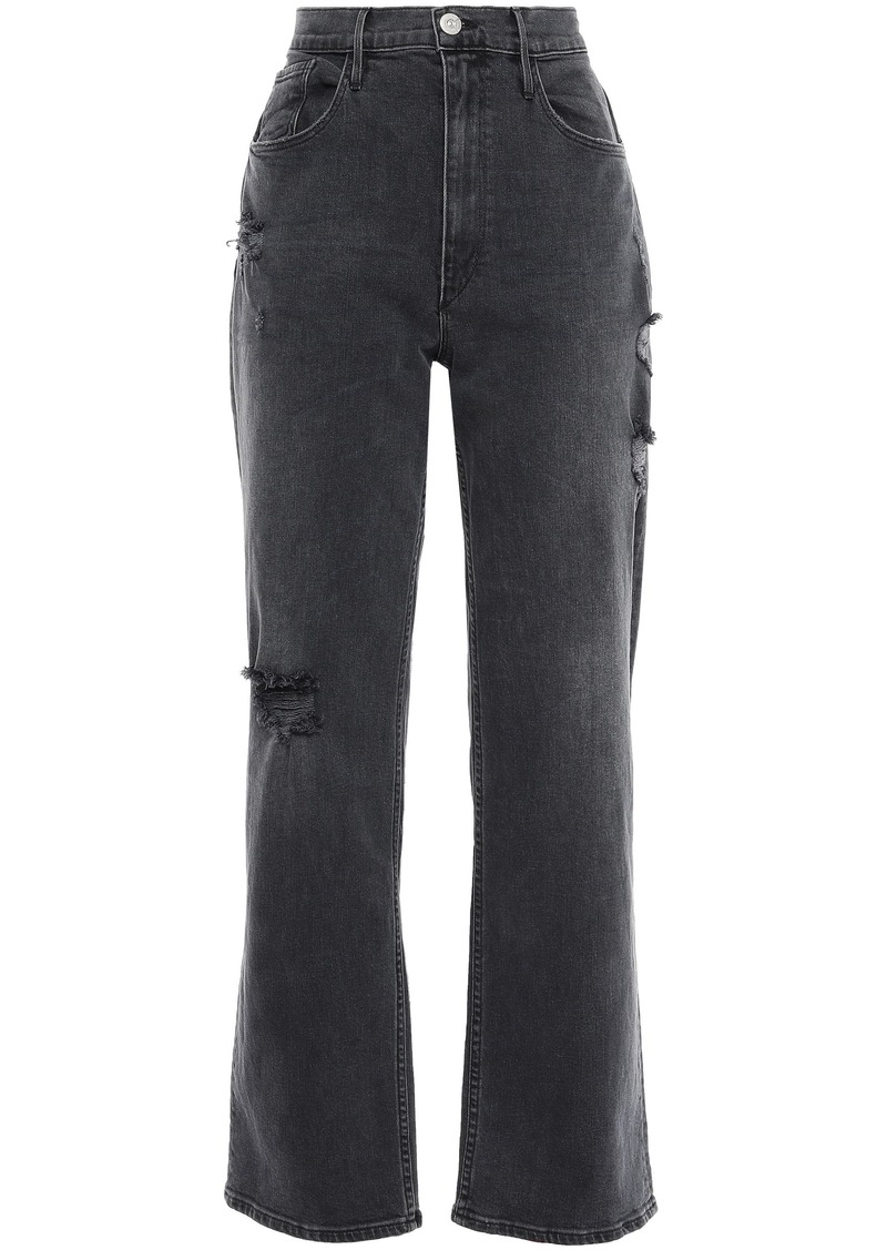 3x1 Woman Distressed High-rise Straight-leg Jeans Black