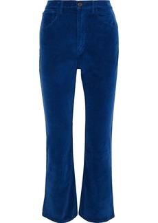 3x1 Woman Empire Cropped Velvet Flared Pants Cobalt Blue
