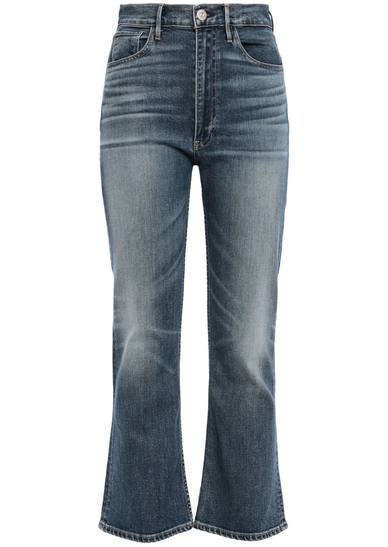 3x1 Woman Empire Faded High-rise Kick-flare Jeans Dark Denim