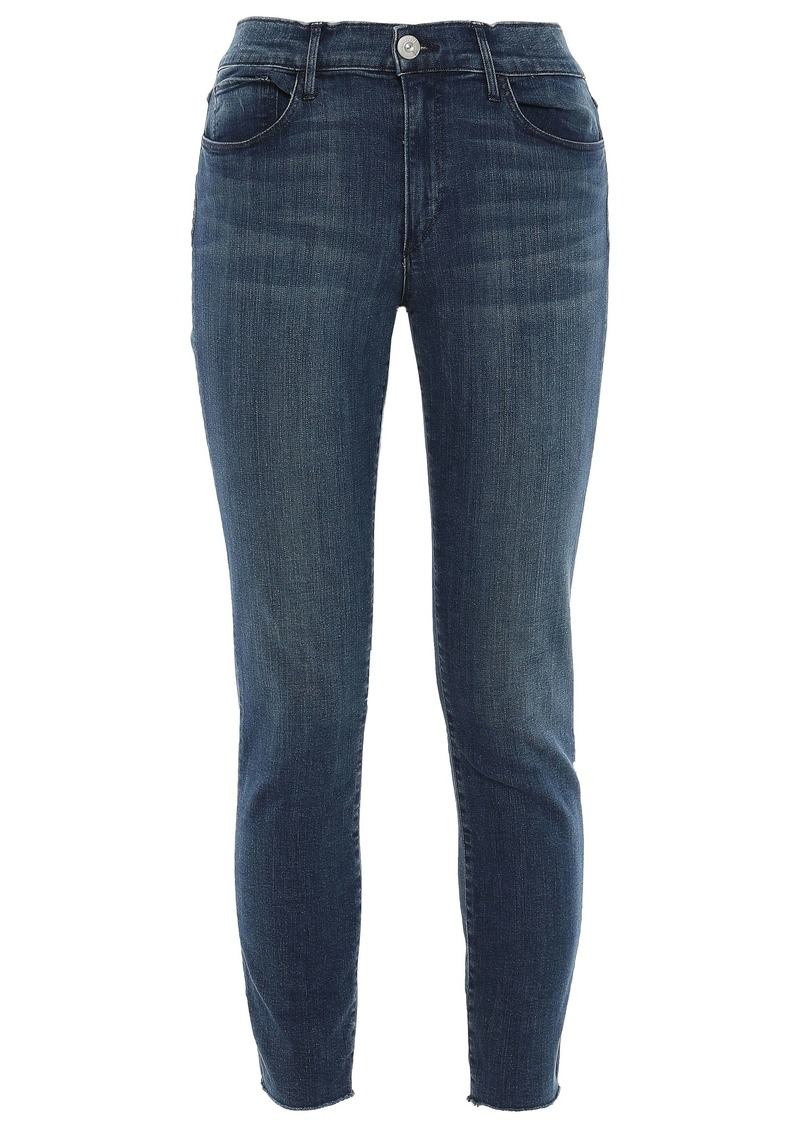3x1 Woman Cropped Faded Mid-rise Skinny Jeans Mid Denim