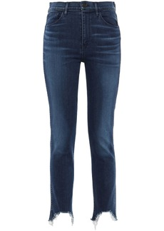 3x1 Woman Cropped Frayed Faded High-rise Slim-leg Jeans Dark Denim