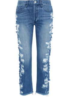 3x1 Woman Higher Ground Cropped Distressed Mid-rise Straight-leg Jeans Mid Denim