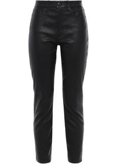 3x1 Woman Leather Slim-leg Pants Black