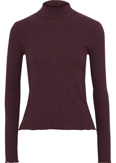 3x1 Woman Ruffle-trimmed Ribbed Jersey Turtleneck Top Plum