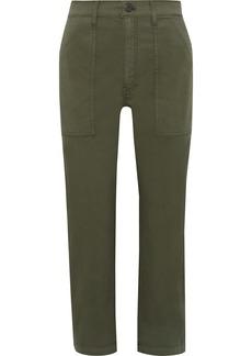 3x1 Woman Sabine Cropped Cotton-blend Twill Straight-leg Pants Army Green