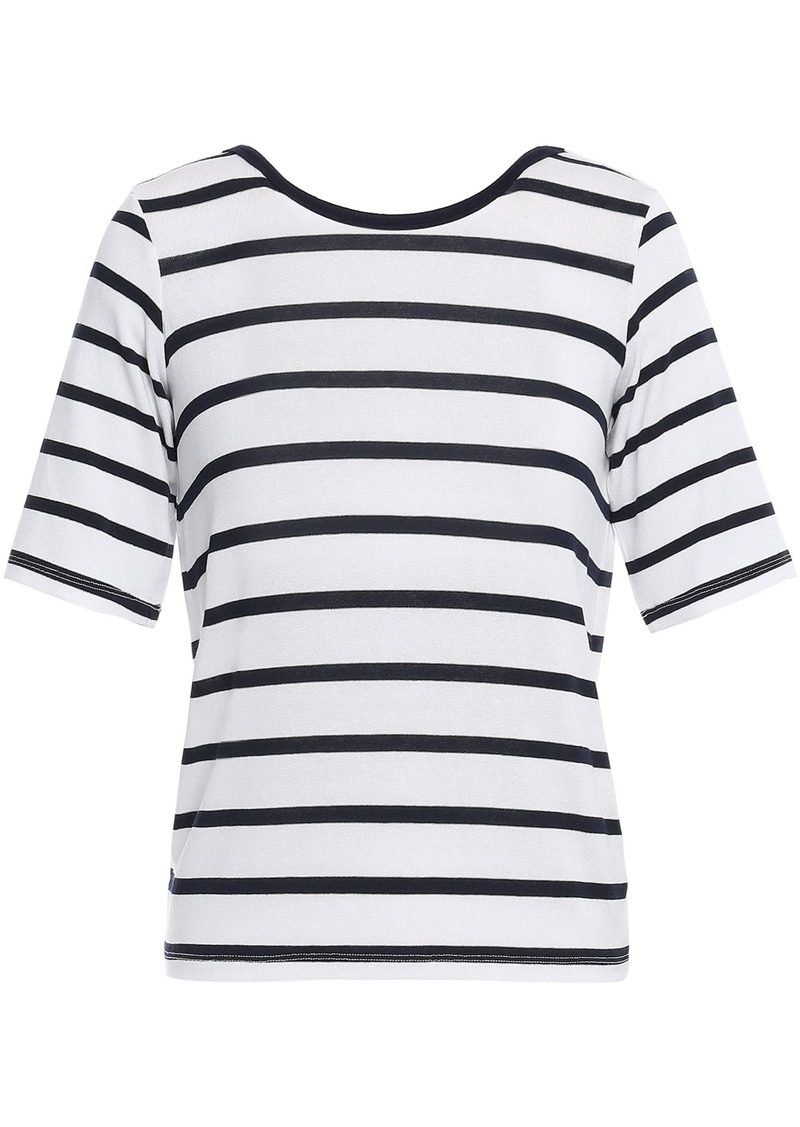 3x1 Woman Open-back Knotted Striped Stretch-knit Top White