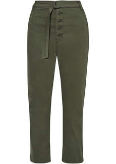 3x1 Woman Vic Cropped Belted Cotton-blend Twill Straight-leg Pants Army Green