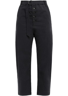 3x1 Woman Vic Cropped Stretch-cotton Straight-leg Pants Black
