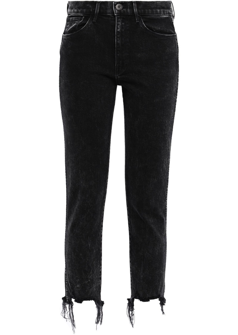 3x1 Woman W3 Cropped Frayed High-rise Slim-leg Jeans Black