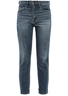 3x1 Woman W3 Distressed High-rise Slim-leg Jeans Mid Denim