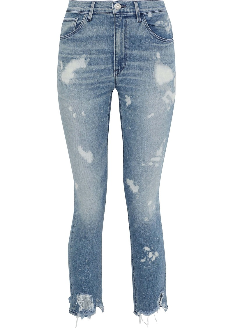 3x1 Woman W4 Bleached Distressed High-rise Skinny Jeans Light Denim