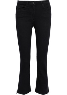 3x1 Woman Zip-detailed Mid-rise Kick-flare Jeans Black