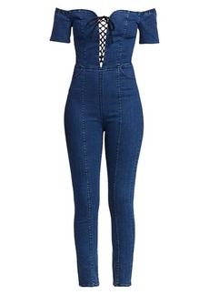 3x1 Camille Lace-Up Denim Jumpsuit