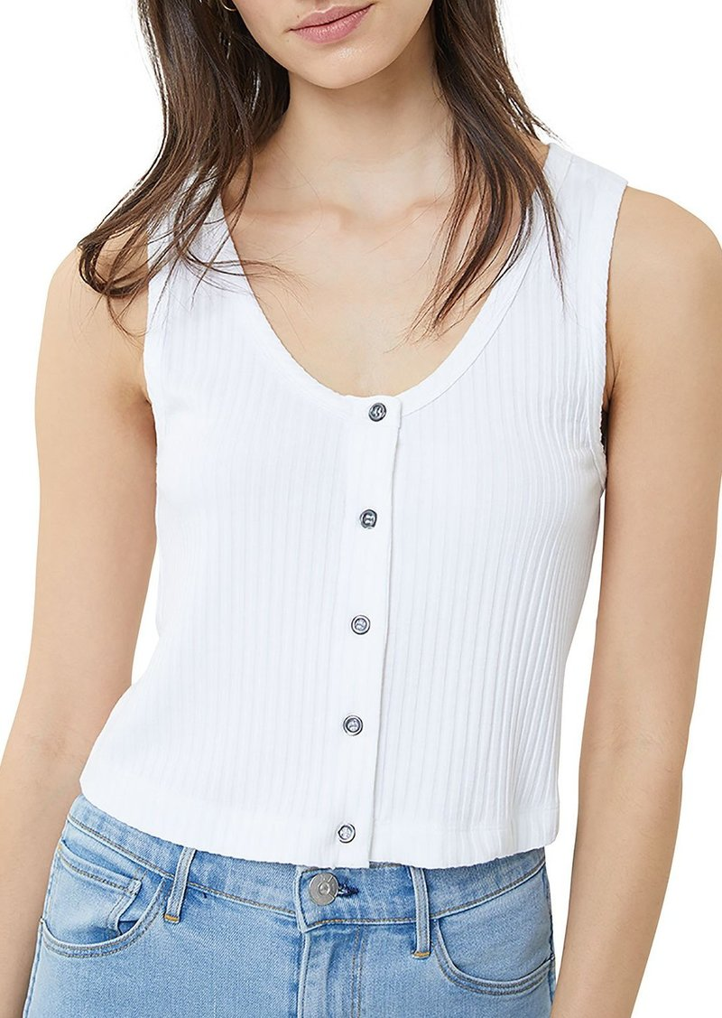 3x1 Dolly Button-Front Ribbed Crop Tank