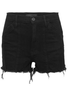 3x1 Jason Wu Paneled Frayed Denim Shorts
