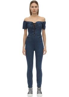3x1 Lace-up Stretch Cotton Denim Jumpsuit