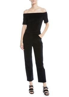 3x1 Off-Shoulder Velvet Straight-Leg Romper