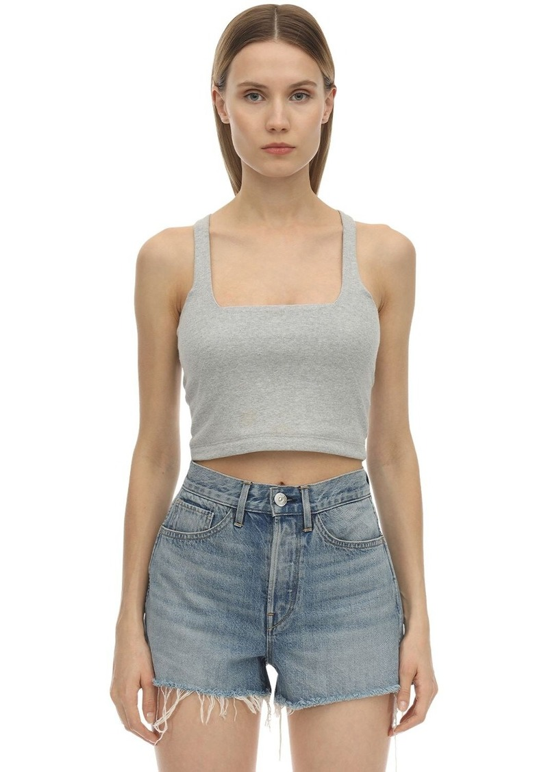 3x1 Ribbed Cotton Jersey Crop Top