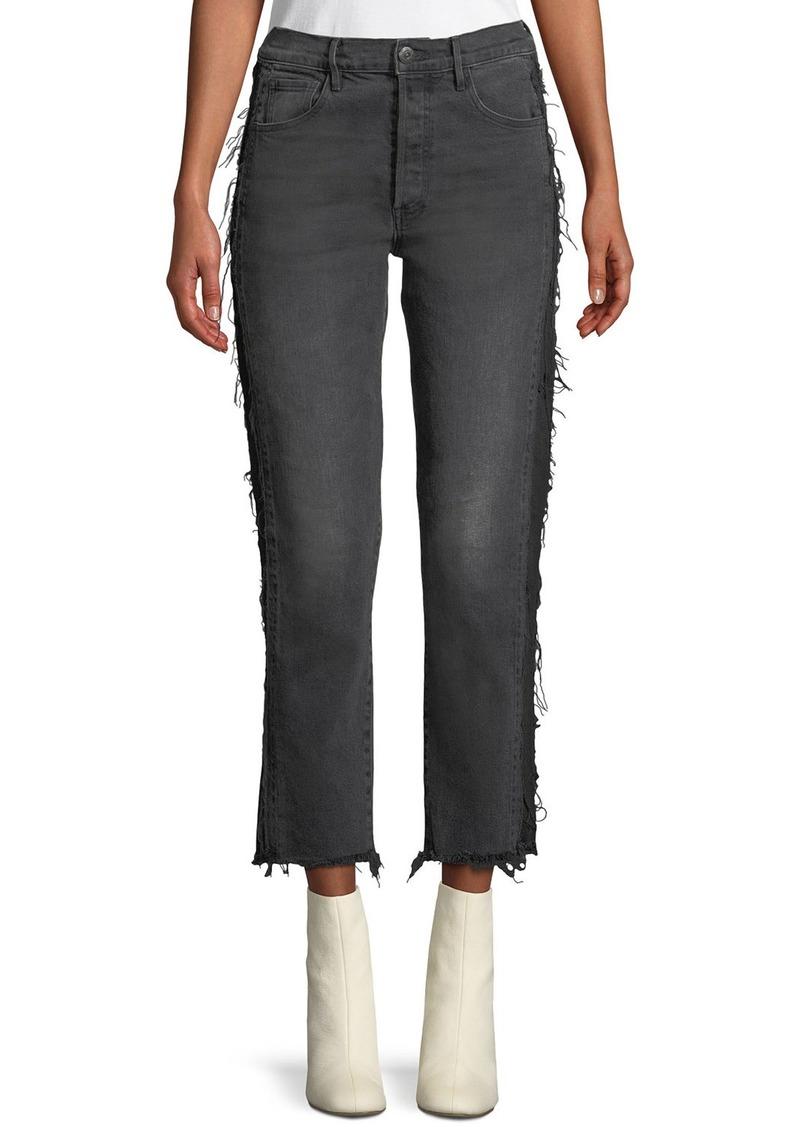 3x1 W3 Cora Cropped Straight-Leg Jeans w/ Frayed Panels