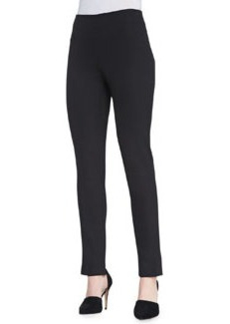 Lela Rose Catherine Slim Straight-Leg Pants, Black