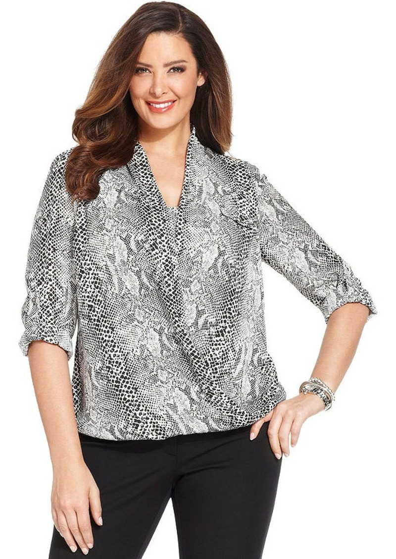 Alfani Plus Size Snakeskin-Print Faux-Wrap Top