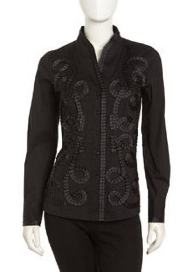 Go Silk Kimono Embellished Stretch Blouse, Black