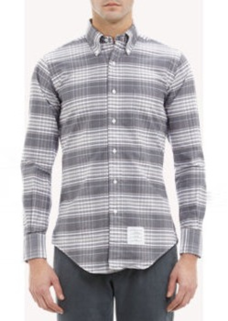 On sale today thom browne thom browne tartan check oxford for Thom browne shirt sale