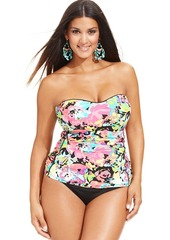 Kenneth Cole Reaction Plus Size Banded Floral-Print Bikini Bottom
